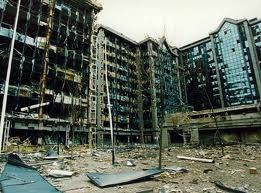 old photos of the isle of dogs - South Quay after IRA bombing in the 80s