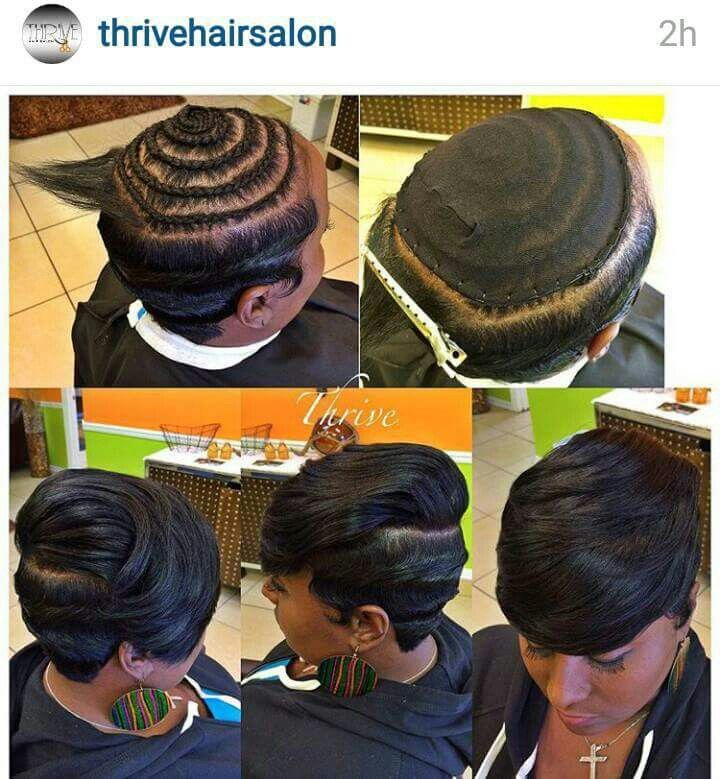 Short sew in with fingerwaves