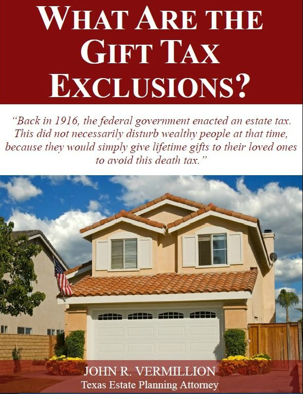 If you are concerned about owing back taxes from all of those birthday gifts that you have given over the years, we have some good news for you. There are some gift tax exclusions that you can utilize to give tax-free gifts. One of them is the annual gift tax exclusion. Each calendar year, you can [ ] The post Free Report: What are the Gift Tax Exclusions appeared first on Vermillion Law Firm LLC.