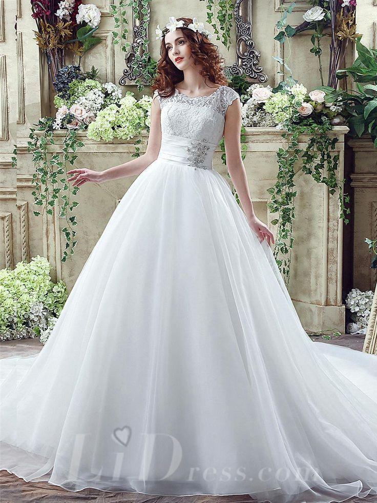 Cap+Sleeves+Elegant+Illusion+Lace+Beading+2016+Wedding+Dress