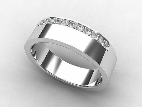 mens titanium wedding band with diamonds by torkkelijewellery 89000