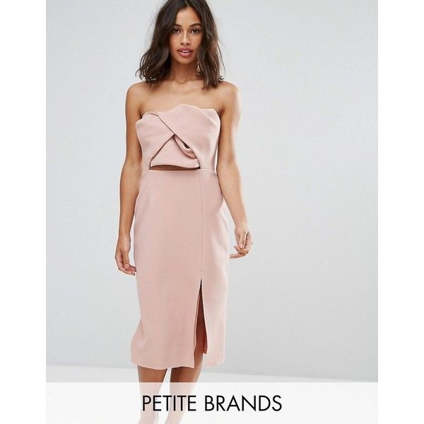 True Decadence Petite Exagerated Bow Detail Bandeau Midi Dress (175 CAD) ❤ liked on Polyvore featuring dresses, petite, pink, pink dress, cut out midi dress, pink cut out dress, petite dresses and pink midi dress