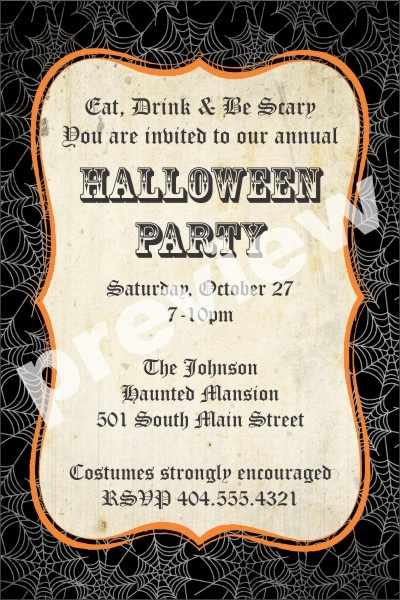 8 Best Halloween Party Invitations Images On Pinterest