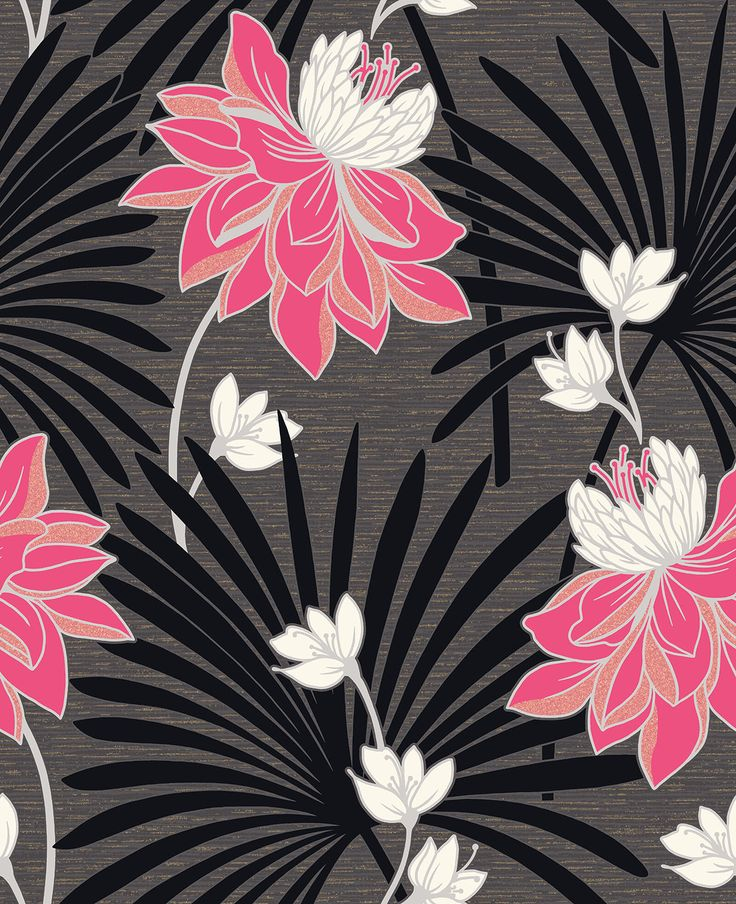 Tropicana Fuchsia Black Wallpaper By Crown