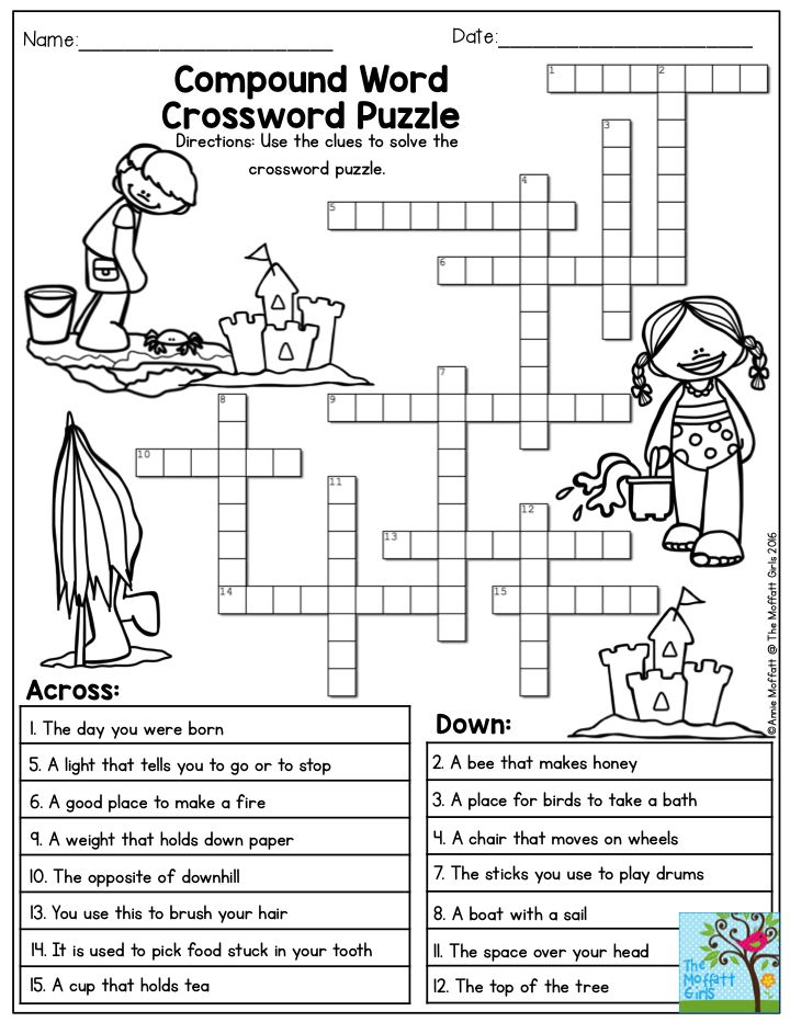 compound word crossword puzzle the summer review no prep packet for 3rd grade is a fun way to. Black Bedroom Furniture Sets. Home Design Ideas