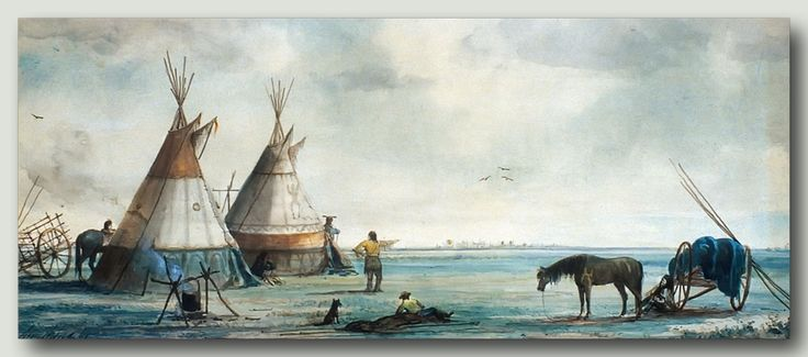 Art of William Armstrong (1822–1914), a Canadian artist on the Manitoba prairie circa 1869-70 during his trip west with the Wolseley Expedition of that time. This is most likely an Assiniboine [Nakoda] camp. Note the Red River carts then in use by the natives and the buffalo hide tipis.