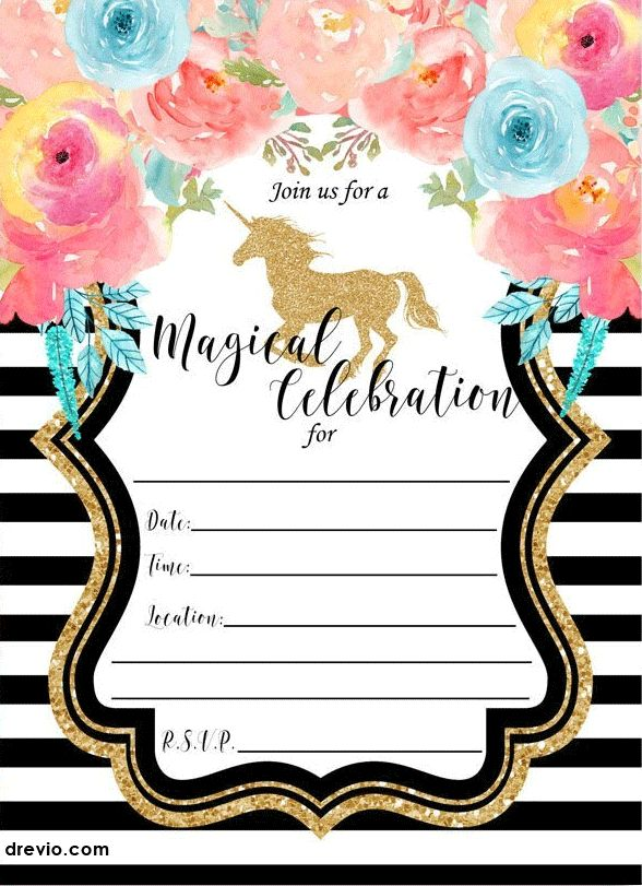 FREE Printable Golden Unicorn Birthday Invitation Template | Drevio  Invitations Design  Invitation Birthday Template