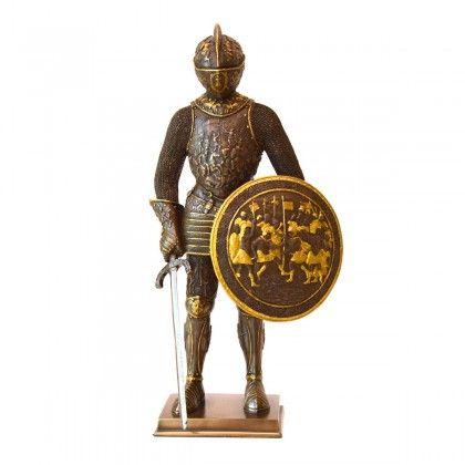 Statueta bronz, armura medievala