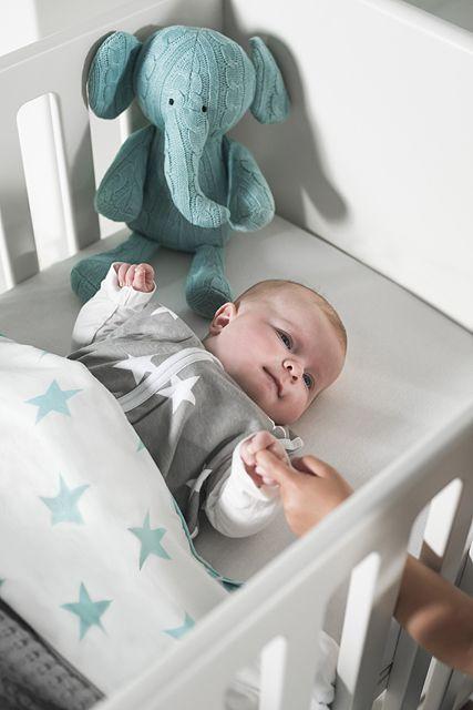 Sheet Little star jade & sleeping bag Little star grey by Jollein | Babyuitzetonline.nl