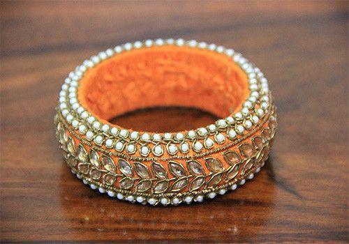 Thick Orange Zardozi Bangle – Desically Ethnic