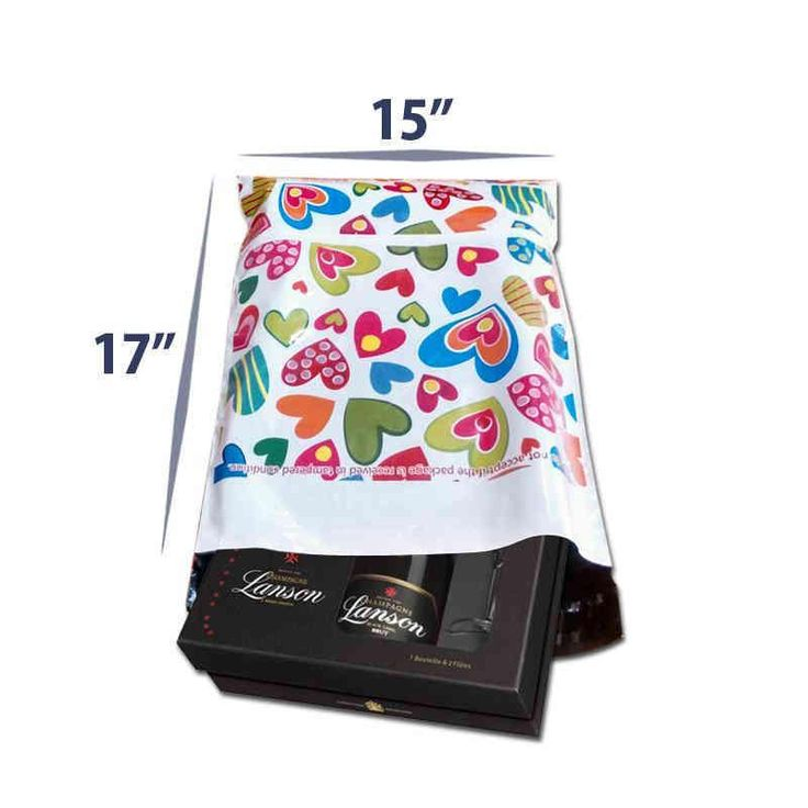 Buy 15 x 17 Premium Printed Courier Gift Bags & Poly Mailers With Hearts at Best Price. High Quality Packaging Materials Guarantee!