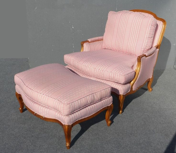 Best Vintage Sam Moore Red Plaid Arm Chair Ottoman Ornate 400 x 300