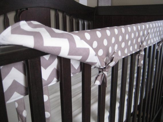 REVERSIBLE Crib Teething Rail Padded Front Cover by myfrecklesshop, $44.00