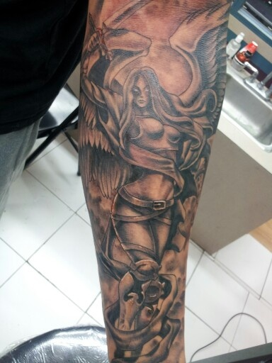 Aaa San Antonio >> Guardian angel religious tattoo | Tattoos by Adrian Flores at All Star Tattoo San Antonio,tx ...