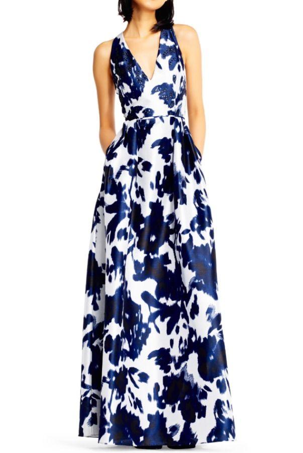 Adrianna Papell Deep V Neck Blue Floral Print A Line Ball Gown ... de2b6f4e7
