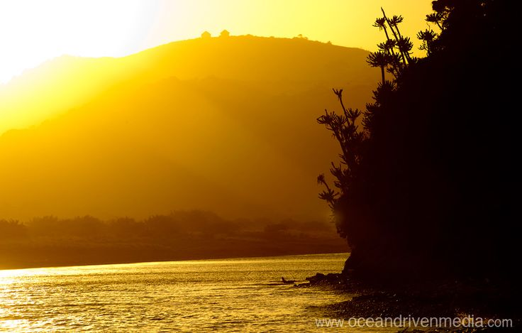 Sunset over river and hills in Transkei