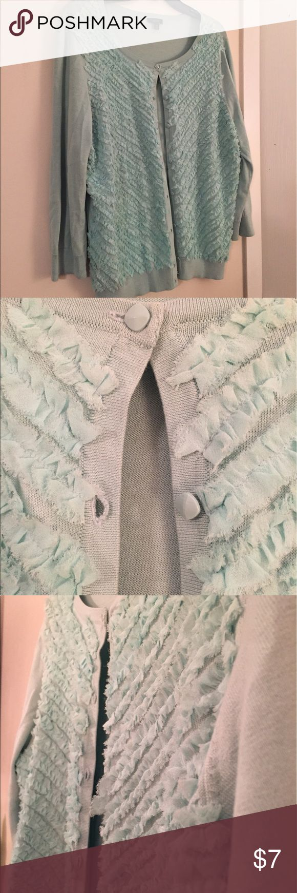 Talbots teal cardigan with ruffle Cute NWOT Talbots cardigan teal/baby blue with velvety ruffles on front Talbots Sweaters Cardigans