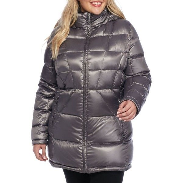 Calvin Klein Shine Granite Calvin Klein Womens Zip Up Puffer Jacket... ($110) ❤ liked on Polyvore featuring plus size women's fashion, plus size clothing, plus size outerwear, plus size jackets, shine granite, puffy jacket, zip jacket, zipper jacket, zip pocket jacket and hooded zip jacket