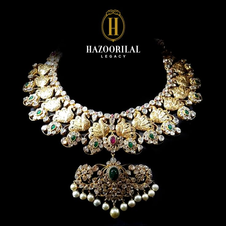 Alluring like the ethereal Peacock dancing in the rain. #HazoorilalLegacy #Hazoorilal #Gold #Jewelry #Necklace