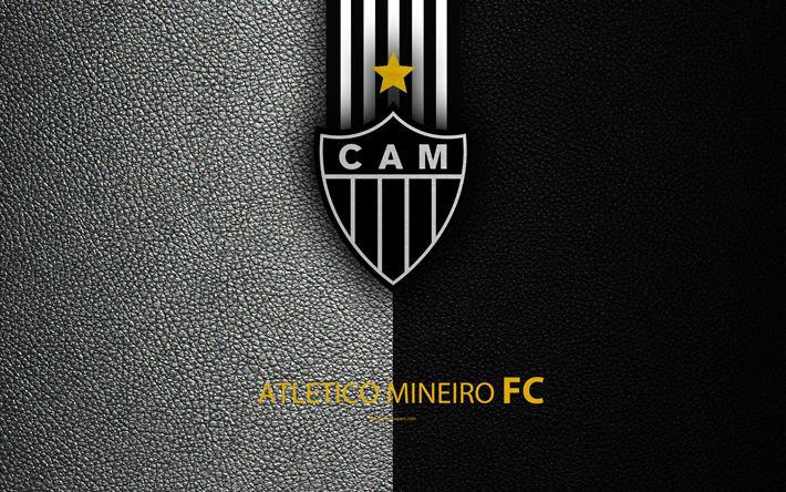 Download wallpapers Atletico Mineiro FC, 4K, Brazilian football club, Brazilian Serie A, leather texture, emblem, logo, Belo Horizonte, Minas Gerais, Brazil, football