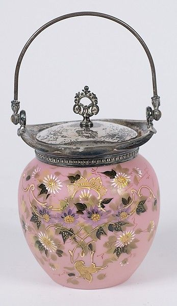Victorian Biscuit Jars | ... : Victorian Enameled Glass Biscuit Jar :