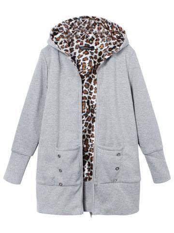 Leopard Hoodie Slim Coat Plus Size Outwear Coat