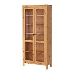 HEMNES, Glass-door cabinet, light brown