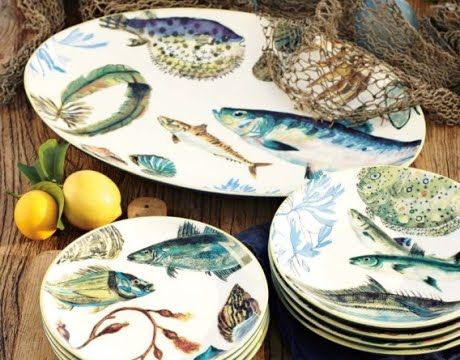 fish theme plates & 42 best Dinnerware - fishy images on Pinterest | Pisces Ceramic ...