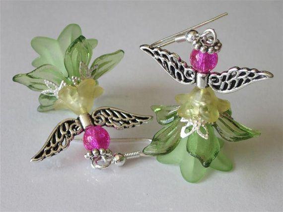 Jardín hadas pendientes Elegant Angel cuentas verdes Sprite