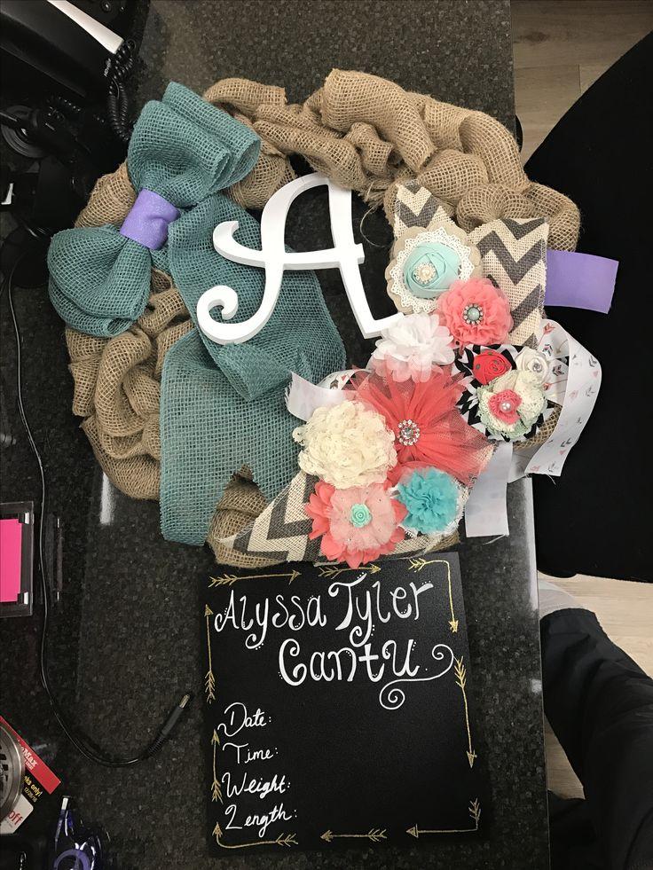 Hospital door wreath for baby girl
