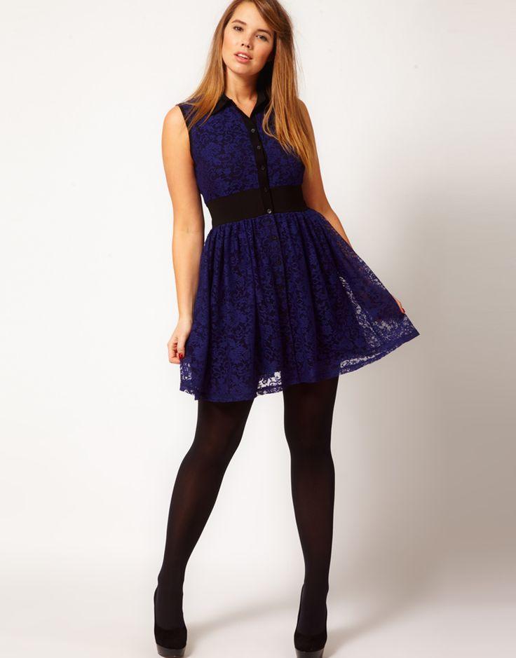ASOS Curve   ASOS CURVE Mini Lace Dress with Elastic Waist at ASOS