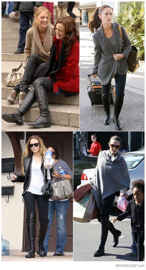 Leighton Meester, Jennifer Love Hewitt, Lindsay Lohan wearing black Angelina Jolie in Stuart Weitzman 5050 Boots