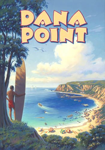 Stretched Canvas Dana Point California Travel Poster (lived there for many years and loved it!)