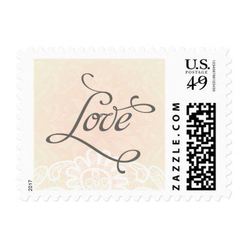 Blush lace Love wedding postage stamp