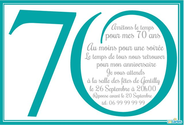 anniversaire 70 ans à personnaliser - couleur turquoise
