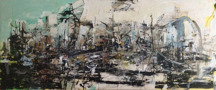 Abstract harbor scene Oil and acrylic on canvas 2014