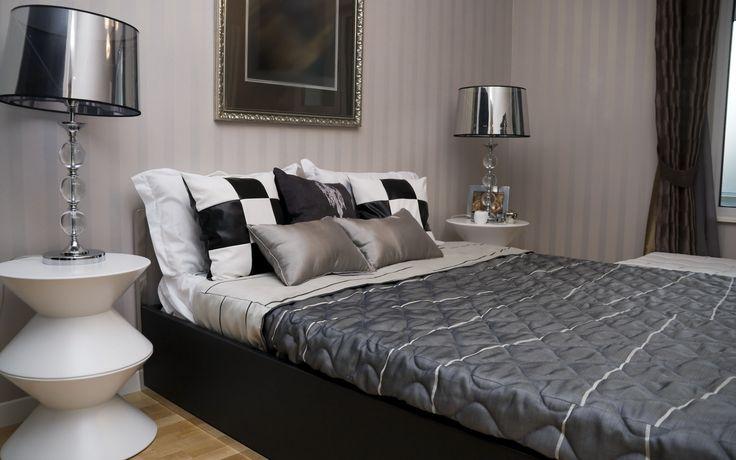 квартира, дизайн, комната, стиль, интерьер, черно-белый, подушки, клетка, лампа, кровать - (картинка, изображение, фото, обои 33