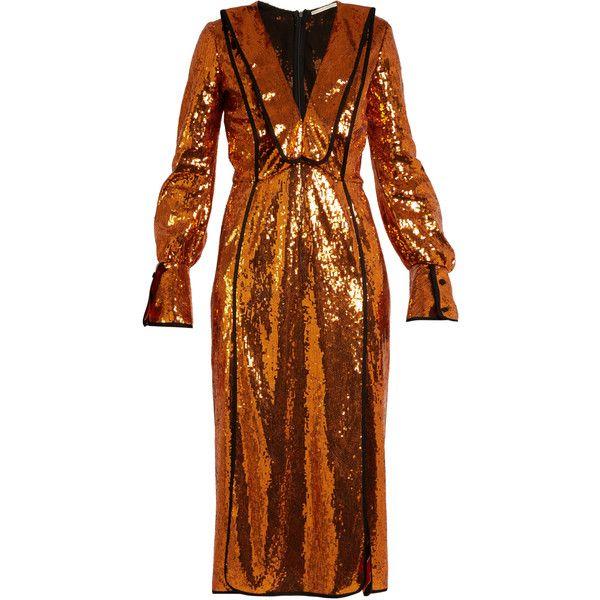 Marco De Vincenzo V-neck sequin-embellished dress ($1,653) ❤ liked on Polyvore featuring dresses, copper, sequin dress, brown dress, mid thigh dress, v-neck dresses and v-neck sequin dresses