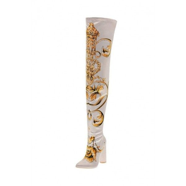 White Satin Floral Chunky Heel Boots