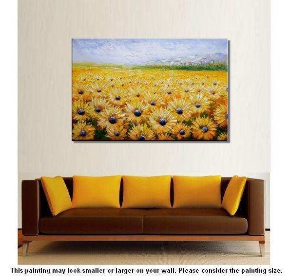 Large Wall Art Canvas Painting Landscape Sunflower