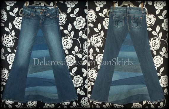Long Jean Skirt 'Pieced and Patchwork' Custom by CustomJeanSkirts, $48.00