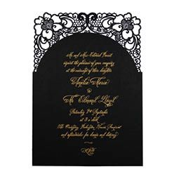 Chartula - A Little Lace Laser Cut Wedding Invitation - Gold on Ebony - Luxury invitations for a designer wedding by www.chartula.co.uk