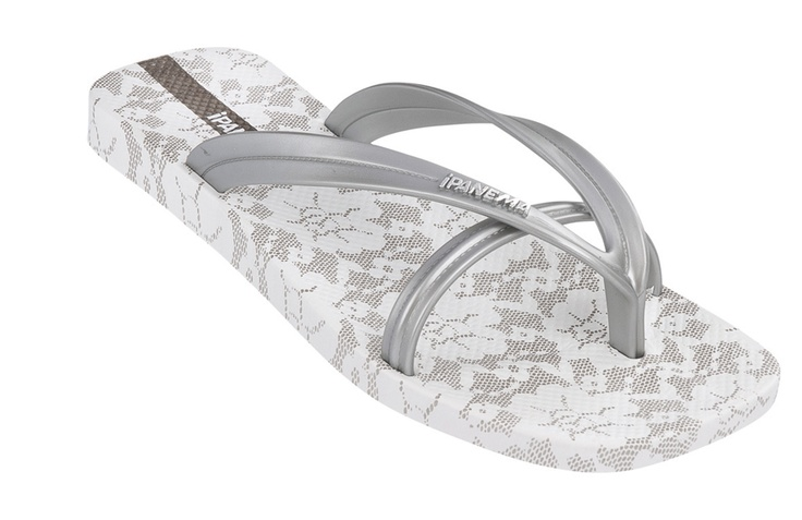 The Bright flip flops in silver.  Double strap with all-over lace effect print.