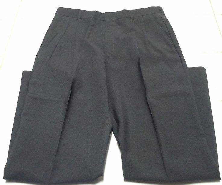 Levis Mens Pants Gray Work Dress 36x32 Polyester Wool Slacks TrousersMade in USA #Levis #DressFlatFront
