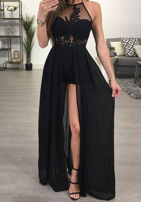 11ae7133353 Black Patchwork Lace Grenadine Halter Neck Chiffon Short Jumpsuit With Maxi  Overlay