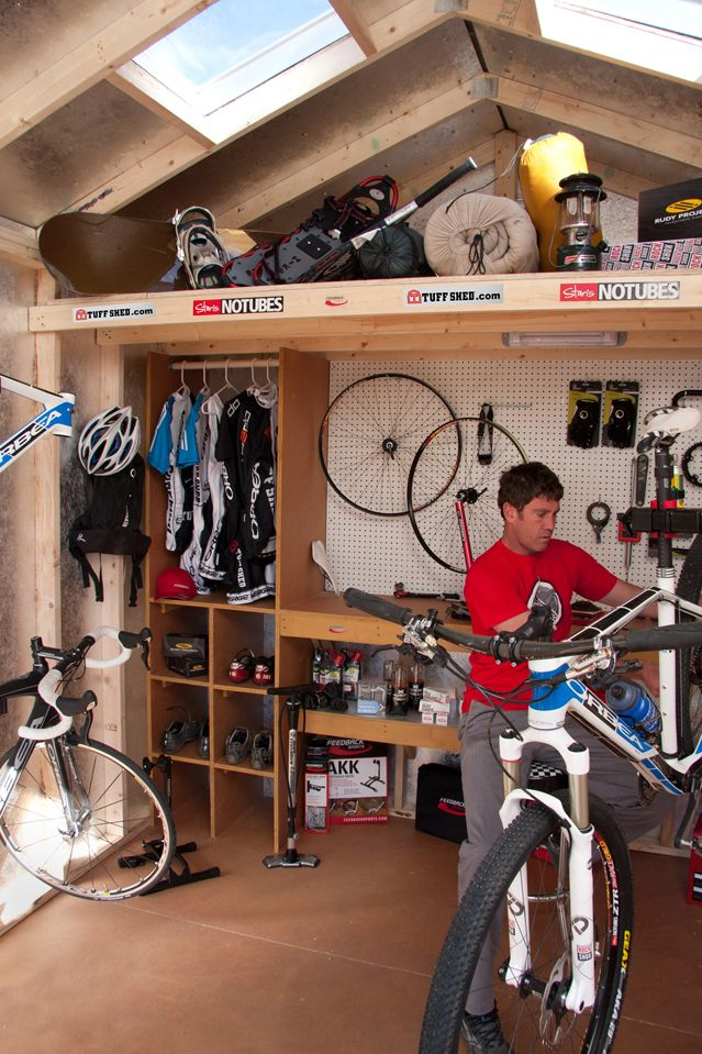 Cycling related gearshed with a work stand and a loft, in addition to space for hanging cycling clothes.