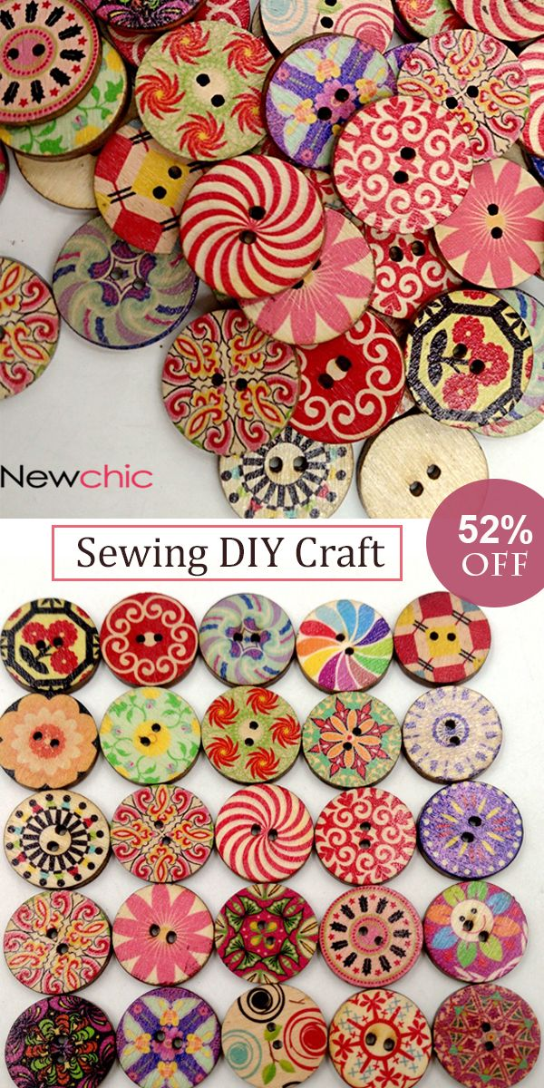 UP to 52% OFF -- 100Pcs Retro Wooden Sewing Buttons DIY Craft Bag Hat Clothes Decoration Sewing Button#newchic#newchichome#diycraft#sewing