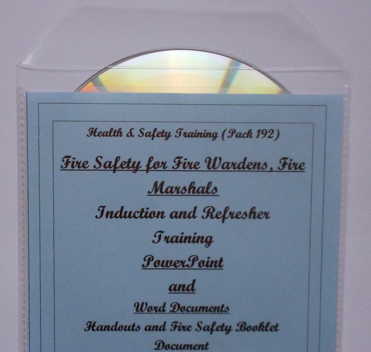 Training Resources CD FIRE WARDEN MARSHALL MARSHAL Health and Safety - Well defined guidelines on roles and responsibilities, legislation, risk assessment, fire equipment and evacuation procedures etc.Suitable for initial or refresher training. Certificate of attendance/awareness included on CD for you to print off and complete.Printable booklet included for the fire marshal.