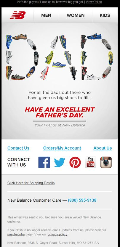 New Balance Father's Day email 6/15/2014
