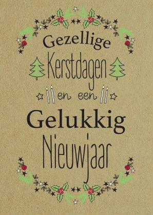 Gezellige kerstdagen en een gelukkig nieuwjaar tekeningen op bruin papier.  Design: ByFlower  Te vinden op: www.kaartje2go.nl  Maak nu jouw eerste kaart gratis op onze website. #kerst #nieuwjaar #kerstkaarten